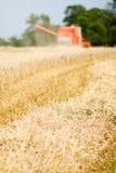 Red harvesting machine Stock Photo