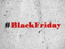 Black friday hashtag on concrete wall. Red hashtag Black Friday illustration on concrete wall Stock Images