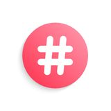 Red hashtag button with shadow Royalty Free Stock Photo