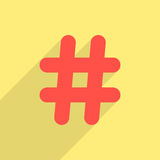 Red hashtag icon with long shadow. Isolated on yellow background. concept of social media and simple number sign. trendy modern vector illustration Stock Photos