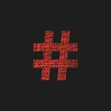 Red hashtag icon in sketch style. Red hashtag icon in sketch hand drawn style. concept of number sign and social media. isolated on black background. trendy Royalty Free Stock Images