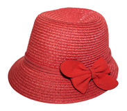Red hat with bow for ladies on a white background. Stylish Red hat with bow for ladies on a white background Stock Photo