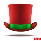 Red hat cylinder with green ribbon. Stock Image
