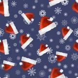 Red Hat en Sneeuwvlokken Naadloos Patroon Stock Afbeeldingen