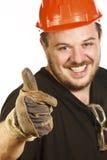 Red hat handyman Stock Photo