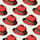 Red hat retro seamless background Stock Images