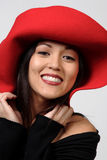 Red hat woman Royalty Free Stock Image