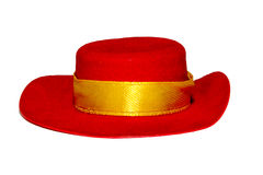 Red hat with a yellow ribbon. Stock Photo