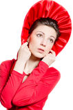 Red Hat, Young elegant happy woman wearing red dress & hat Stock Image