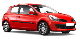 Red hatchback car Royalty Free Stock Image
