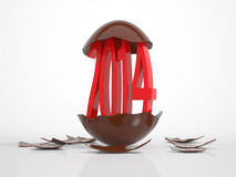 Red 2014 hatches out of an egg. Red written 2014 hatches out of an chocolate egg on black background royalty free illustration