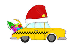 Red hatted Christmas cab Royalty Free Stock Image