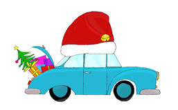 Red hatted Christmas car Royalty Free Stock Images