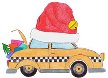 Red hatted Christmas yellow cab Stock Images