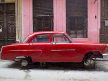 Red Havana car without wheels. Stock Images