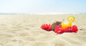 Red Hawaiian lei garland on the beach. Red Hawaiian lei garland with juice in a jar and coconut on sand on the beach, with ocean on background. Perfect vacation royalty free stock photos