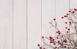 Red hawthorn and white wooden background Royalty Free Stock Photos
