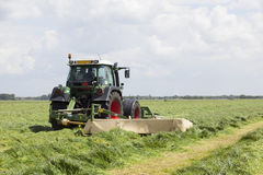 Red hay turner in green meadow in the netherlands. Red hay turner behind tractor in green meadow in the netherlands Stock Images