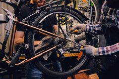 Mechanic fixing rear derailleur from a bicycle. stock photo