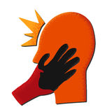Red head with black hand Royalty Free Stock Photography