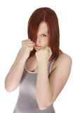 Red head boxer. Red haired teen girl doing a boxing workout Stock Photo
