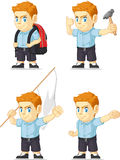 Red Head Boy Customizable Mascot 7 Royalty Free Stock Images