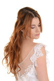 Red head bride eyes closed. Isolated red head bride eyes closed on white background royalty free stock photography