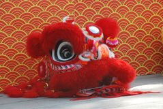 Lion Dance Costume. A red head of Chinese lion costume for traditional Chinese lion dance Royalty Free Stock Photo