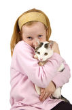 Red head girl holding a white cat Royalty Free Stock Images