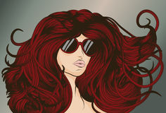 Red Head with long detailed flowing hair Royalty Free Stock Images