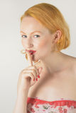 Red head with quiet expression Stock Photography