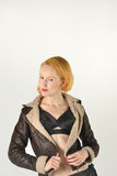 Red head in retro flying jacket Royalty Free Stock Photo