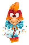 Red head Rooster clown jumps out of box Royalty Free Stock Photos