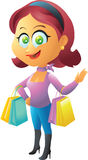 Red head shopping girl Royalty Free Stock Images