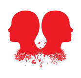 Red head silhouettes Stock Photography
