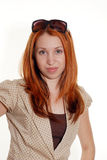 Red head with sunglasses Stock Image