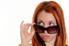 Red head with sunglasses Stock Photos