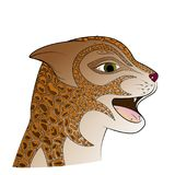 Red head wild cat. Zen Tangle feline face. Royalty Free Stock Photo