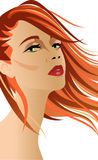 Red head woman with hair at the wind Royalty Free Stock Images