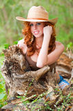 Red head woman outside Royalty Free Stock Photos