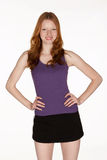 Red Head Woman in Work Out Clothes Royalty Free Stock Photography