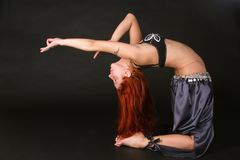 Red-headed bellydancer Royalty Free Stock Image