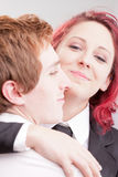 Red headed clerks loving each other Royalty Free Stock Image
