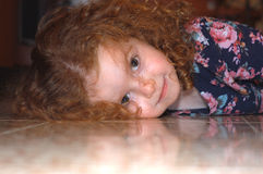 Red headed girl 2 stock photo