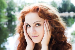 Red-headed girl outdoor Royalty Free Stock Photo