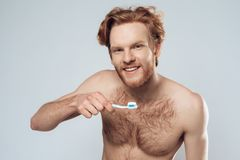 Red headed man is holding toothbrush. With toothpaste. Male hygiene. Morning hygiene procedures. Isolated on grey background Stock Photos