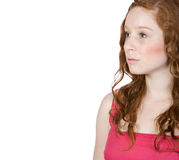 Red Headed Teen Looking into Copyspace Royalty Free Stock Photography