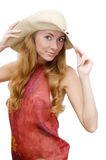 Red headed woman in hat Stock Image