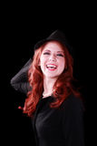 Red Headed Woman Jacket Hat Big Laugh Stock Photography