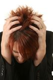 Red-headed Woman Scratching Royalty Free Stock Photos